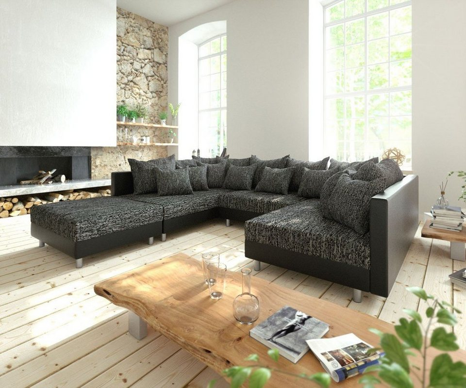 delife couch clovis schwarz mit hocker wohnlandschaft modulsofa online kaufen otto. Black Bedroom Furniture Sets. Home Design Ideas