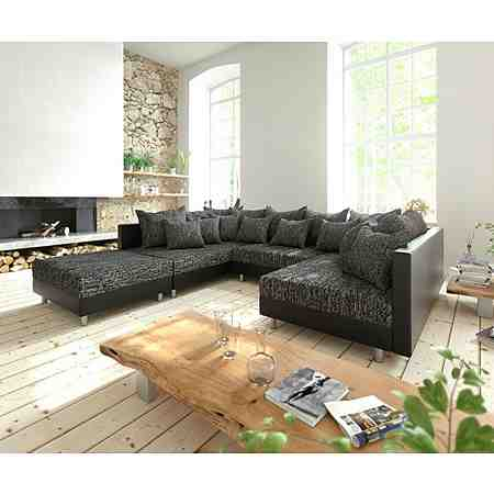 DELIFE Couch Clovis Schwarz mit Hocker Wohnlandschaft Modulsofa