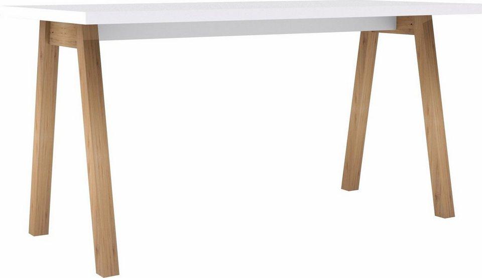 HMW Schreibtisch in weiß Hochglanz/eiche