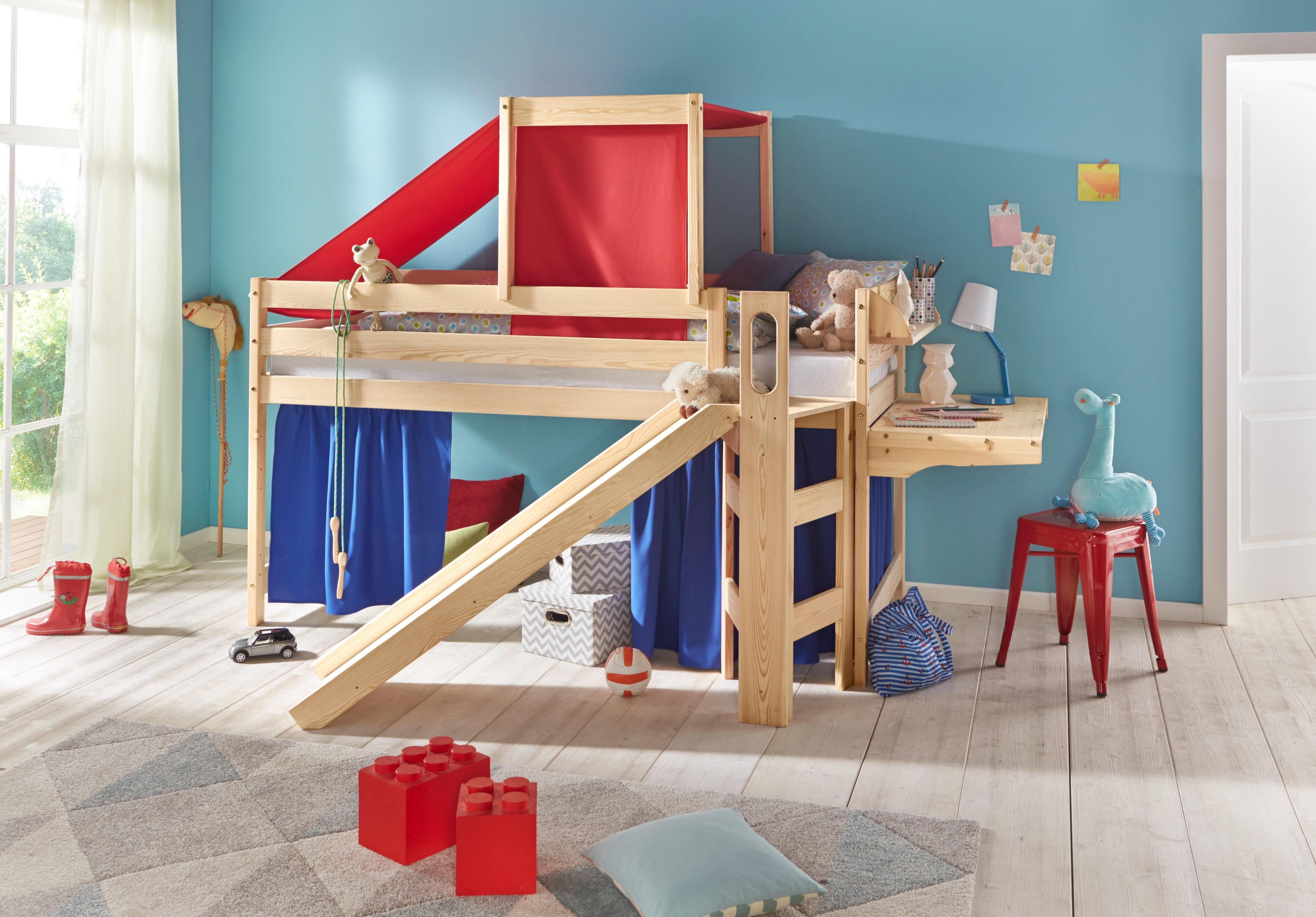 Etagenbett Mit Treppe Und Rutsche : Etagenbett moritz buche vollholz massiv weiß lackiert mit rutsche