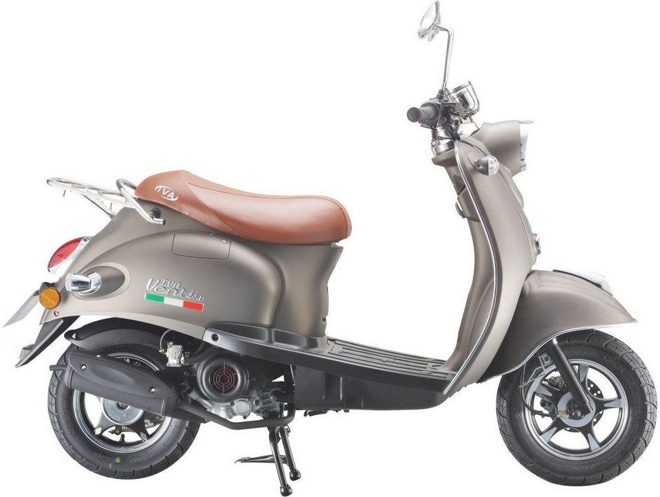 IVA Mofaroller 50 ccm, 3 PS, 25 km/h, für 1 Person, taupe, »VENTI« in grau