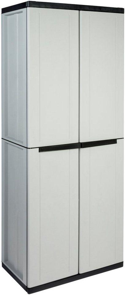 Kunststoff-Universalschrank »mit Regal und Freifach« in grau/schwarz