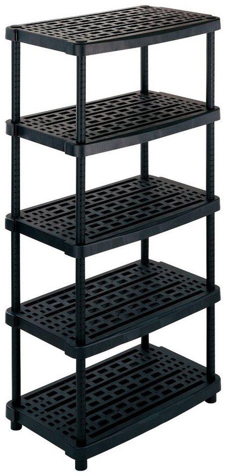 """XL-Steckregal »24"""" mit 5 ventilierten Böden«, extra tief in schwarz"""