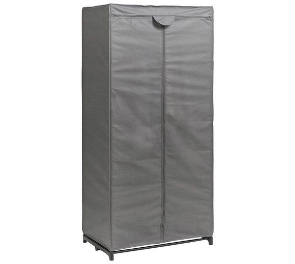 Stoff-Kleiderschrank, Farbe grau, Maße 160x75x50 cm