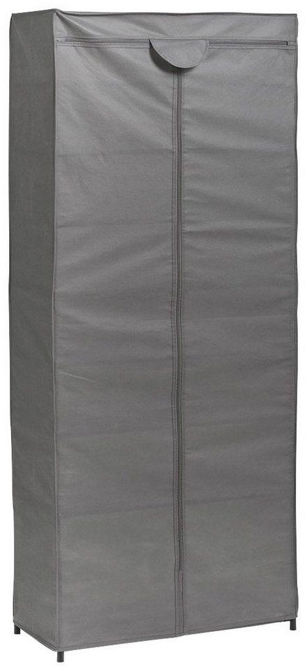 Stoff-Kleiderschrank, Farbe grau, Maße 156x66x30 cm in grau