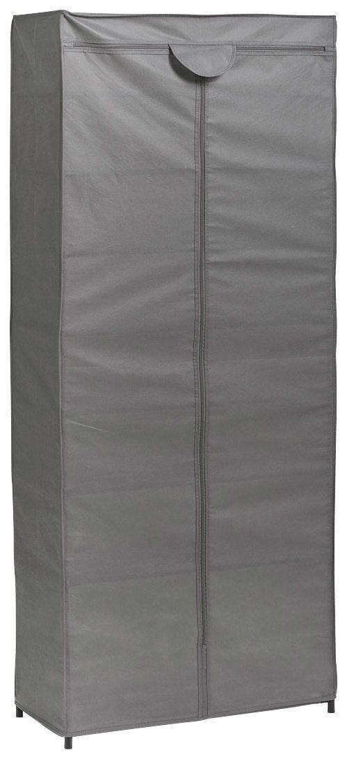 Stoff-Kleiderschrank, Farbe grau, Maße 156x66x30 cm