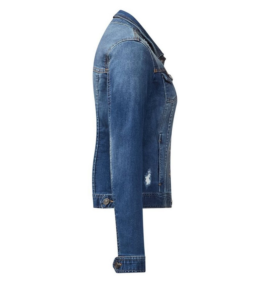 Street One Used Look Denimjacke Yanina in dark blue washed wit