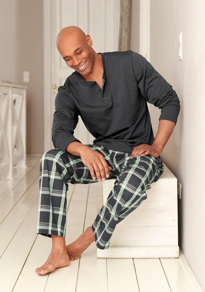 H.I.S Pyjama lang in grau-grün
