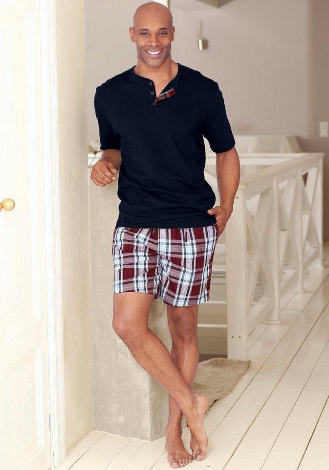 H.I.S Shorty Pyjama kurz in marine-bordeaux