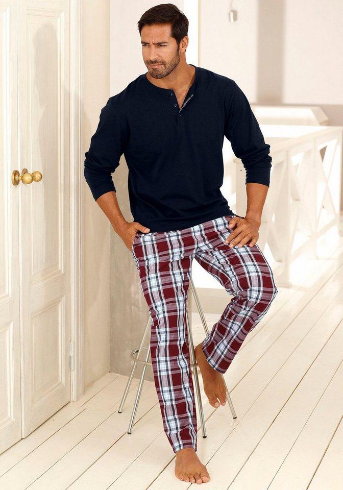 H.I.S Pyjama lang in marine-bordeaux