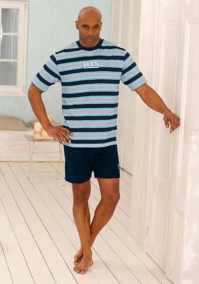 H.I.S Shorty Pyjama aus Baumwolle in marine-grau