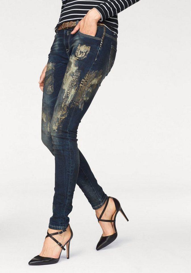 Blue Monkey 5-Pocket-Jeans »Penny« mit glänzenden Spray-Effekten und Nieten in mittelblau-goldfarben
