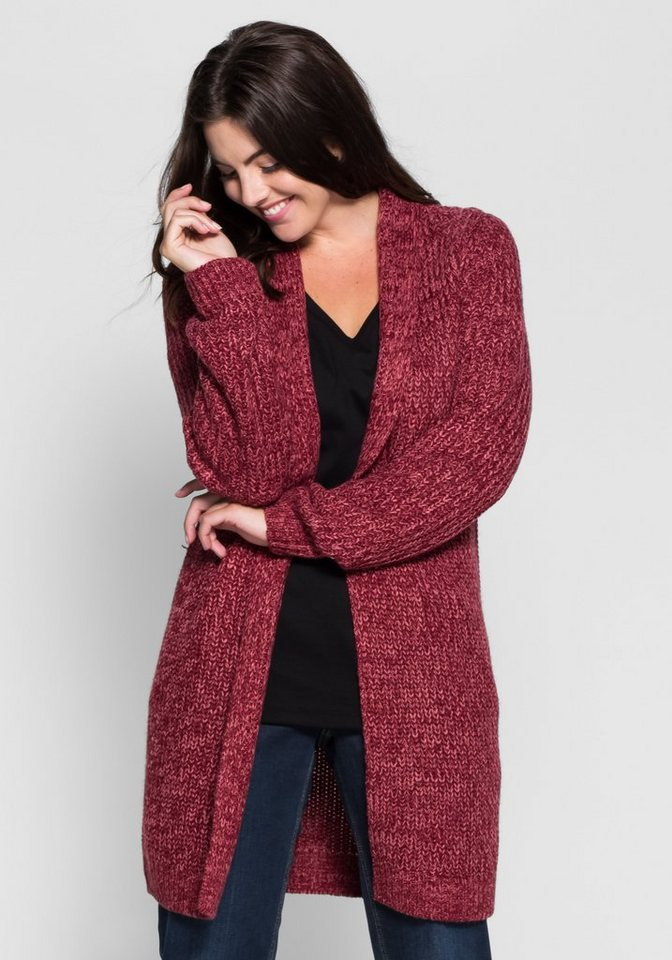 sheego Casual Cardigan in Grobstrick in bordeaux meliert