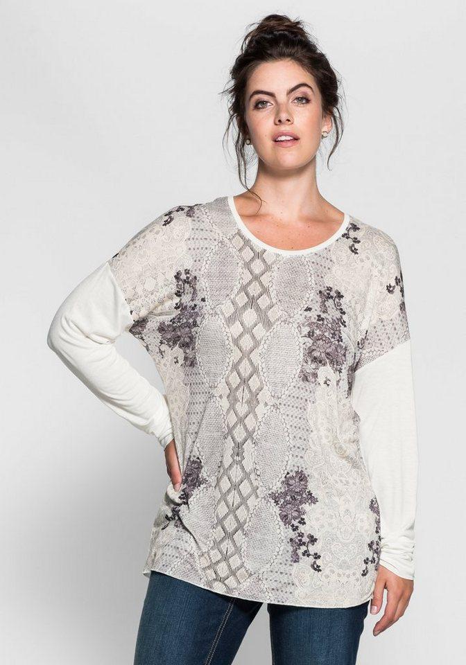 sheego Trend Oversize-Langarmshirt in offwhite bedruckt