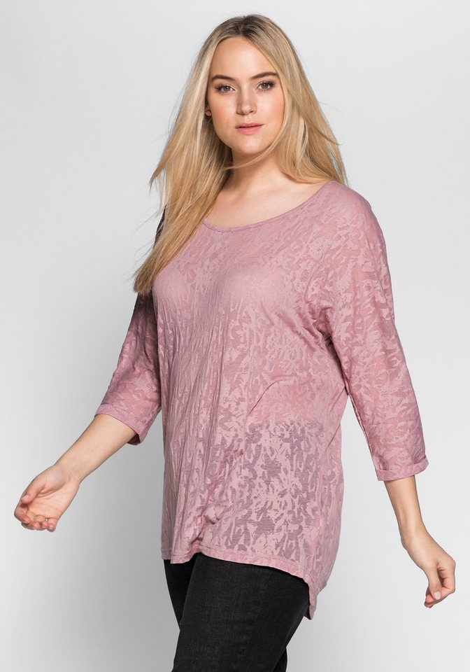 sheego Casual Shirt in Ausbrenner-Qualität in altrosé