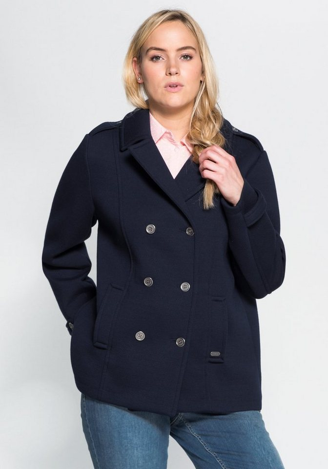 sheego Casual Cabanjacke in Double Face-Jersey in marine