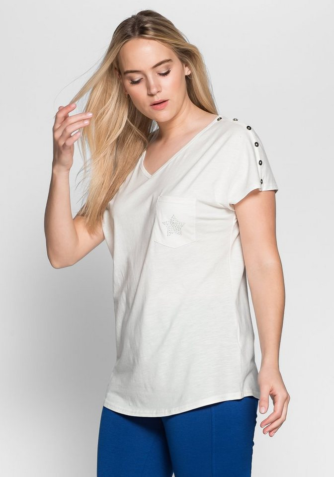 sheego Casual T-Shirt mit Glitzersteinen in offwhite