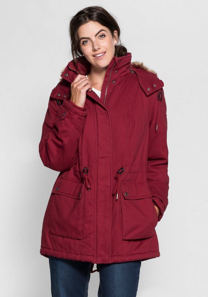 sheego Casual Winterparka in bordeaux