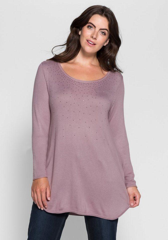 sheego Style Pullover mit Ziersteinen in altrosé