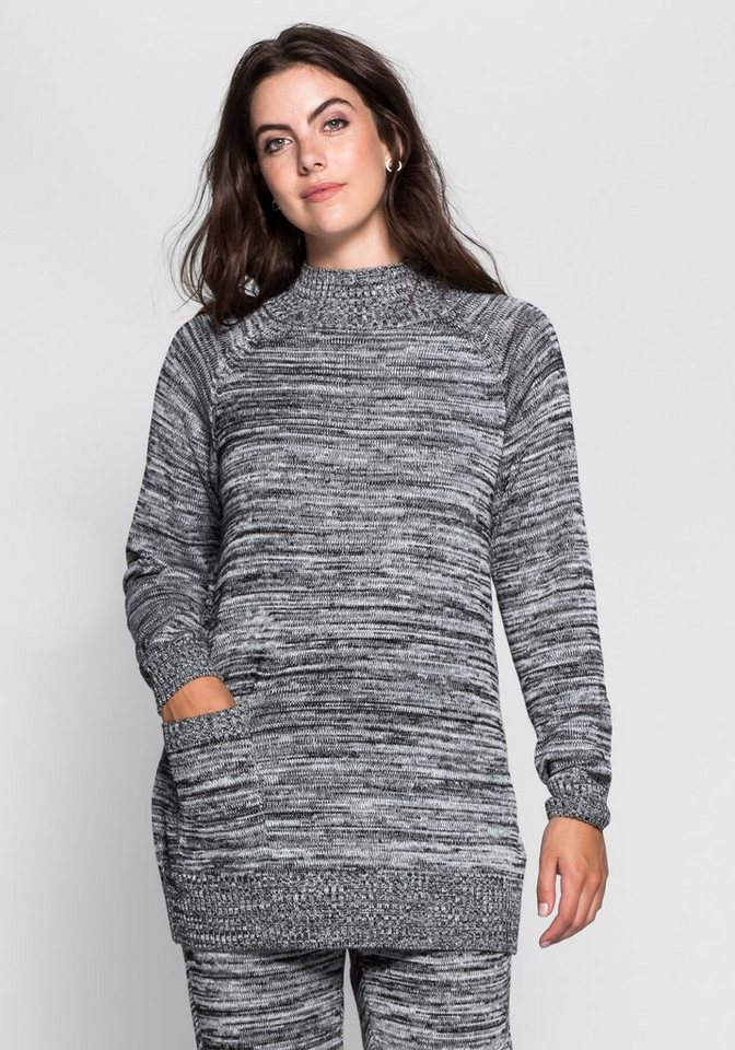 sheego Trend Pullover aus Melangegarn in schwarz-weiß