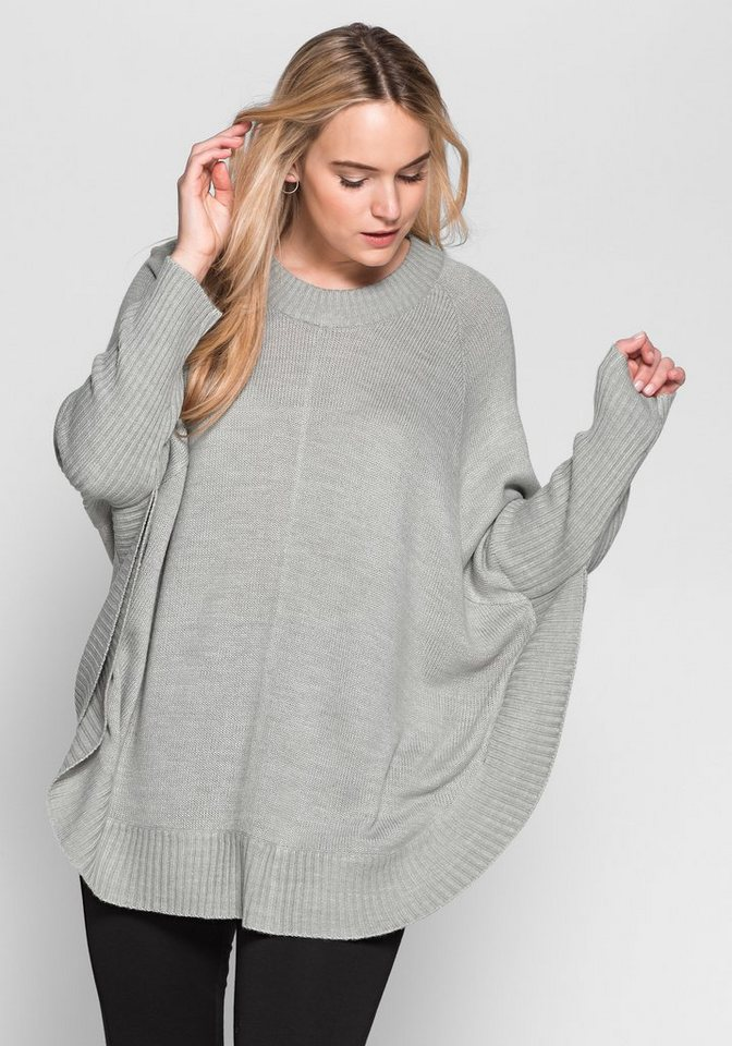 sheego Casual Poncho-Pullover in grau meliert