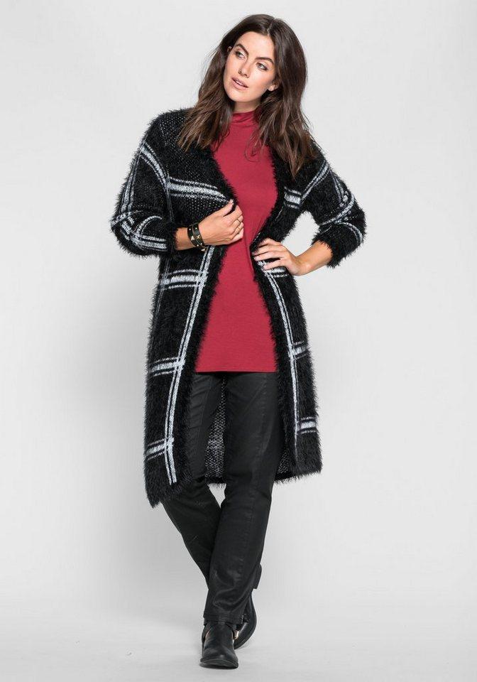 sheego Trend Longcardigan aus Kuschelstrick in schwarz-weiß