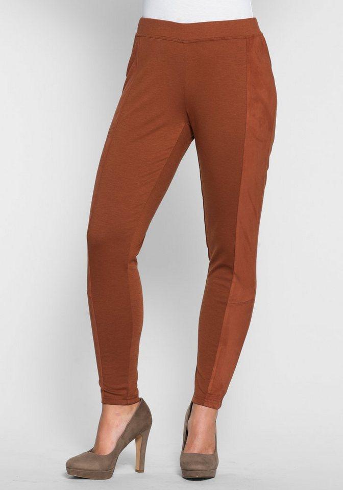 sheego Style Schmale Jerseyhose mit seitlichen Einsätzen in zimt