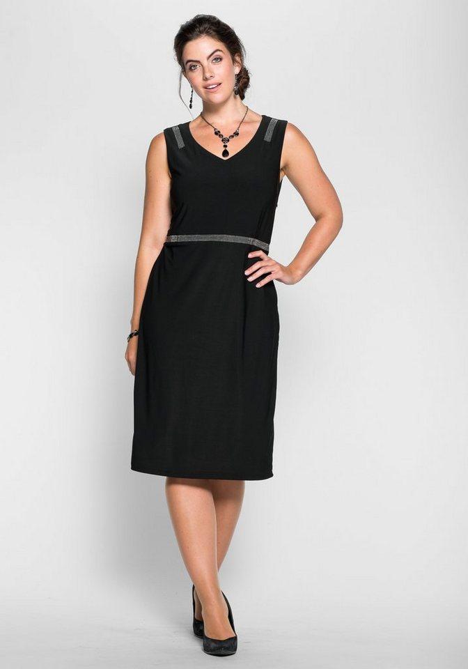 sheego Style Jerseykleid mit schimmernden Zierperlen in schwarz