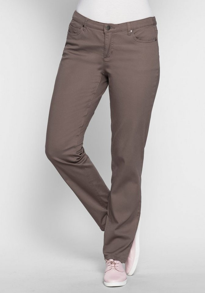 sheego Trend Schmale Stretch-Hose im Five-Pocket-Style in taupe