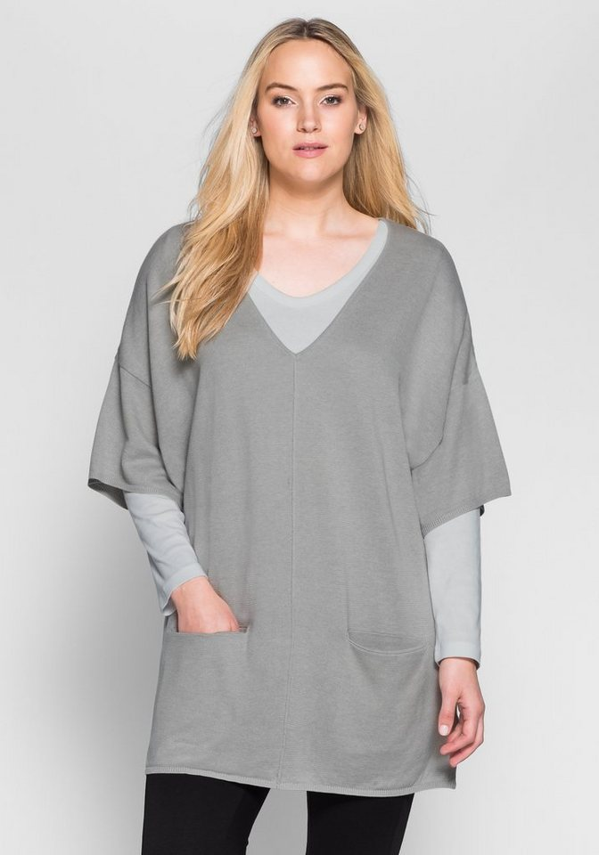 sheego Casual Oversize-Pullover in grau meliert