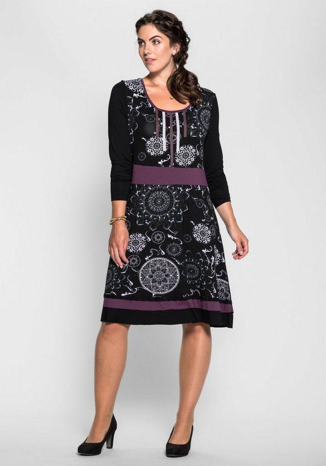 Joe Browns Jerseykleid mit Ornamentdruck in schwarz-lila bedruckt
