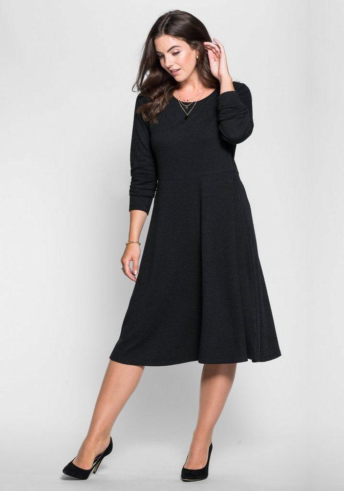 sheego Style Jerseykleid mit Strukturmuster in schwarz