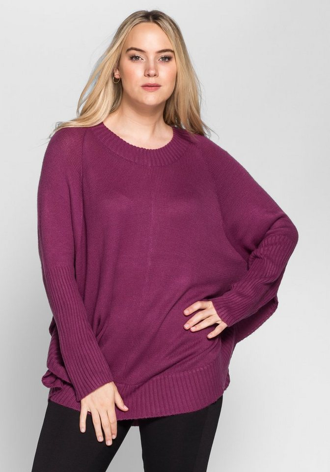 sheego Casual Poncho-Pullover in beere