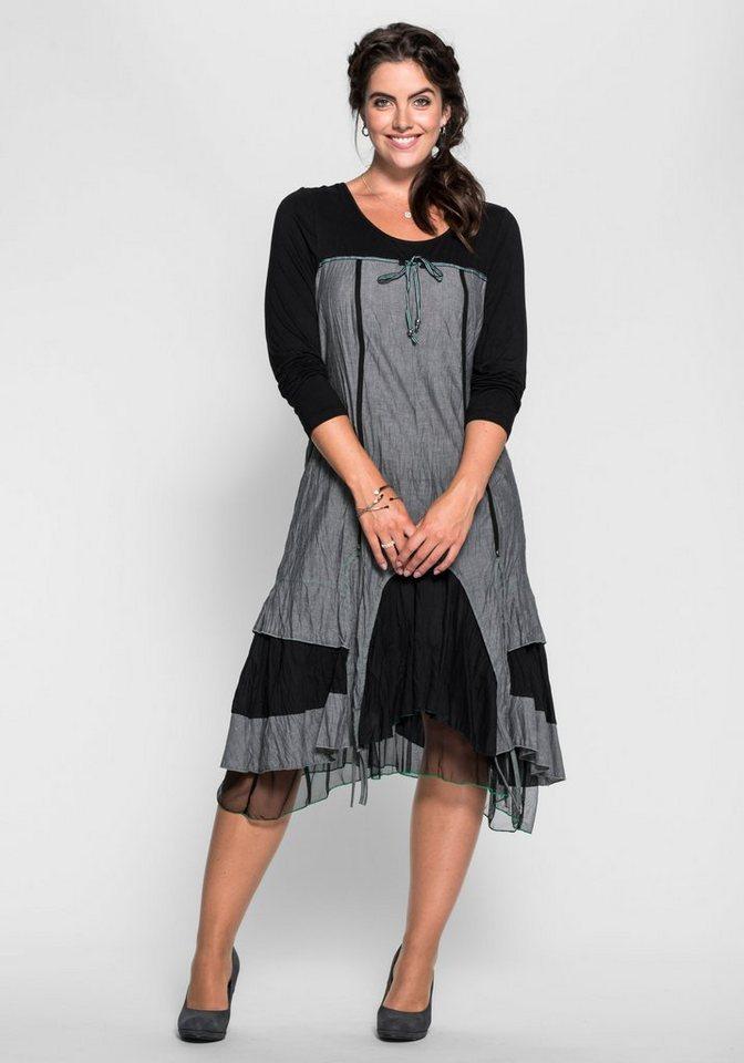 joe browns lagenlook kleid mit schn rung im r cken in grau schwarz. Black Bedroom Furniture Sets. Home Design Ideas