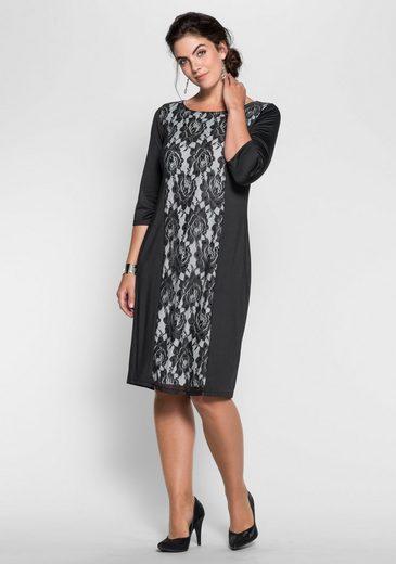 sheego Style Jerseykleid mit Spitzeneinsatz