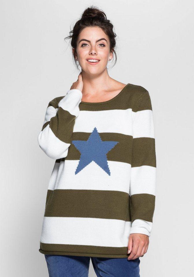 sheego Casual Pullover mit Stickerei in dunkeloliv-weiß