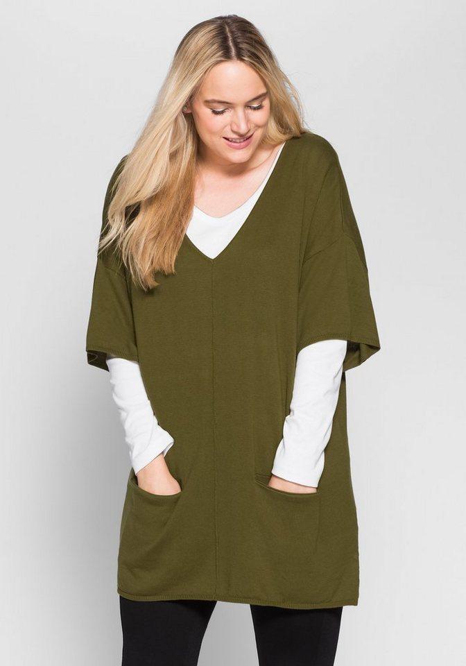 sheego Casual Oversize-Pullover mit Taschen in lorbeer