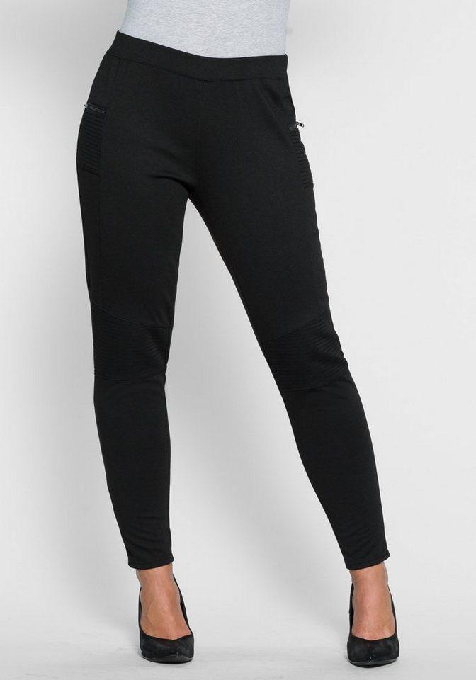 sheego Style Schmale Jerseyhose in schwarz