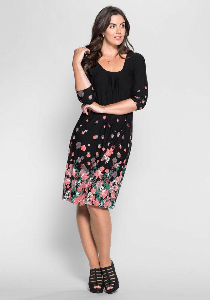 sheego Style Jerseykleid mit Bordürendruck in schwarz-rosé