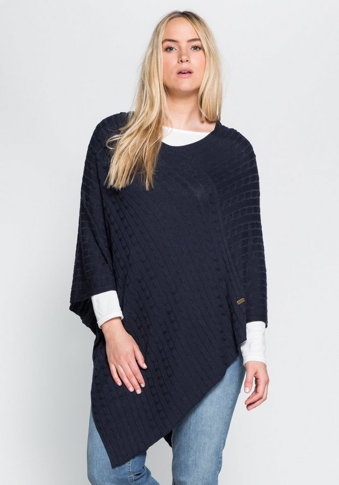 sheego Casual Poncho mit Zopfmuster in marine