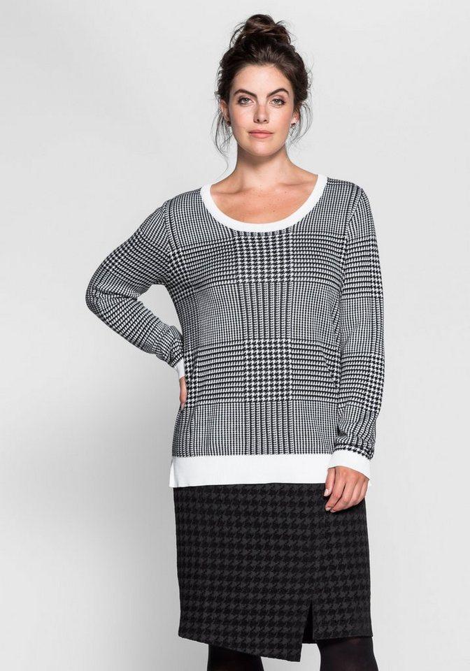 sheego Trend Pullover mit Hahnentritt-Muster in schwarz-weiß