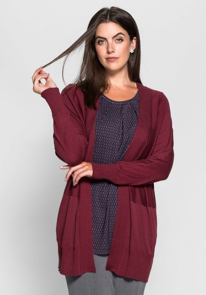 sheego Class Cardigan in offener Form in weinrot