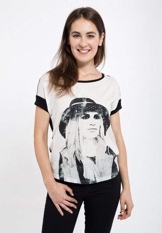 Mexx T-Shirt mit Strukturprint in weiß
