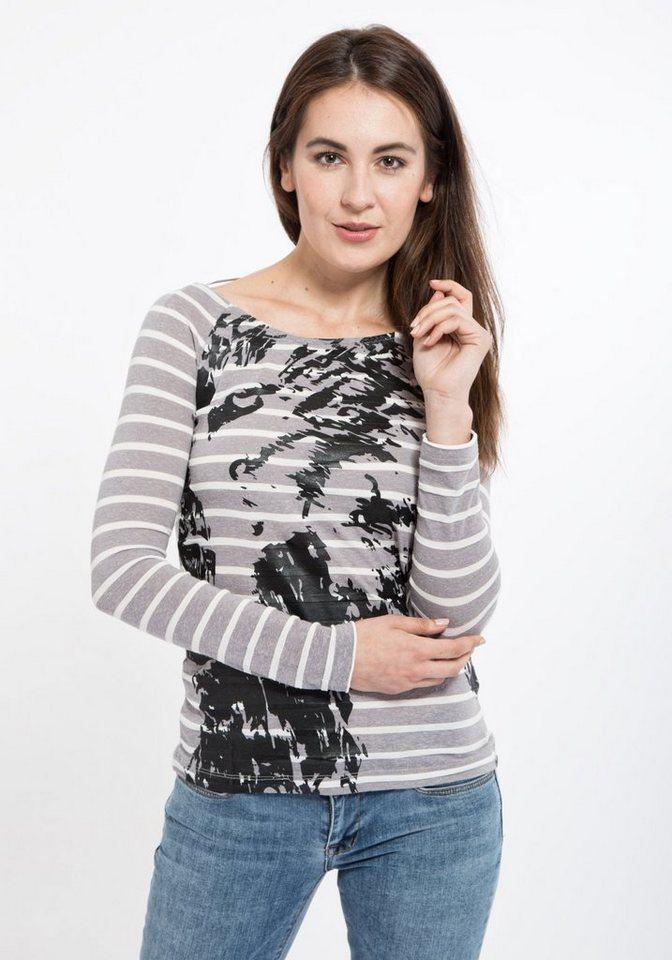 Mexx Langarmshirt mit Querstreifen und Print in grau