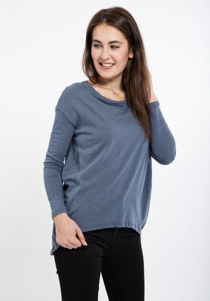 Mexx Langarmshirt mit weitem Schnitt im Vokuhila-Stil in hellblau