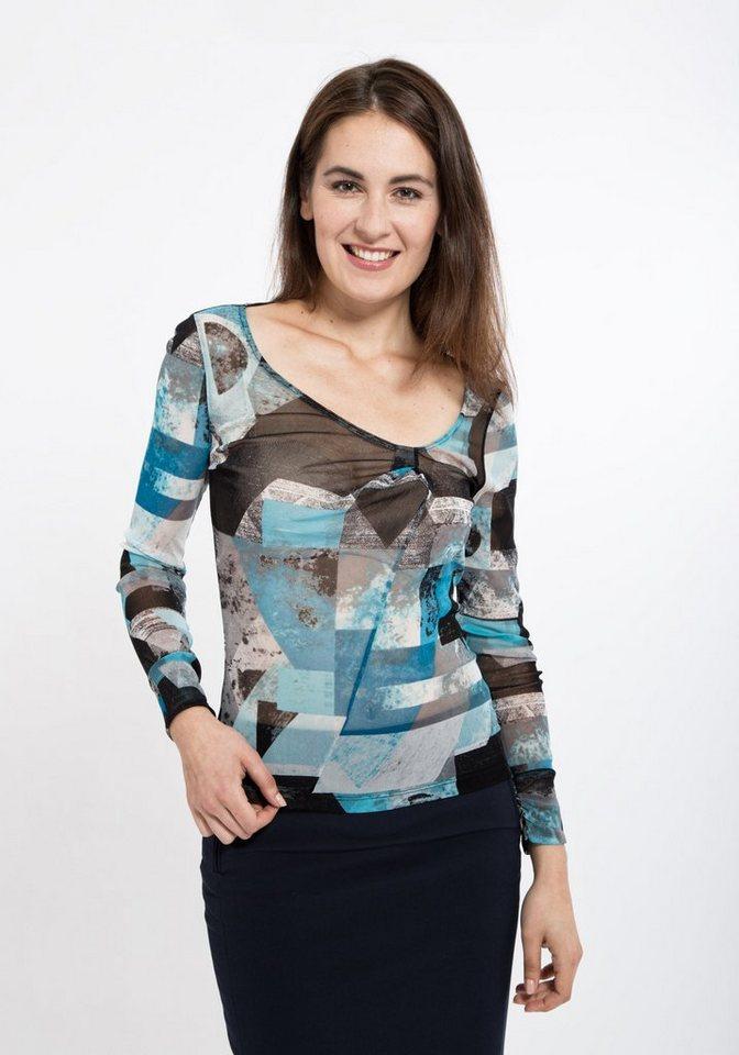 Mexx Netzshirt in Mesh-Ware komplett bedruckt in blau