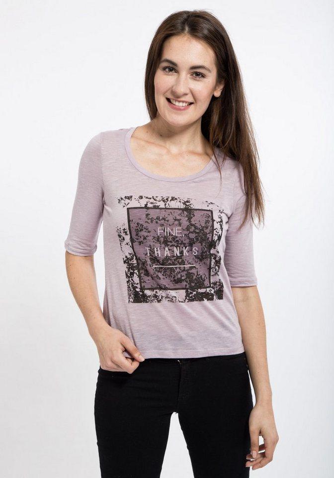 Mexx Vokuhila-Shirt mit halblangen Ärmeln in lila