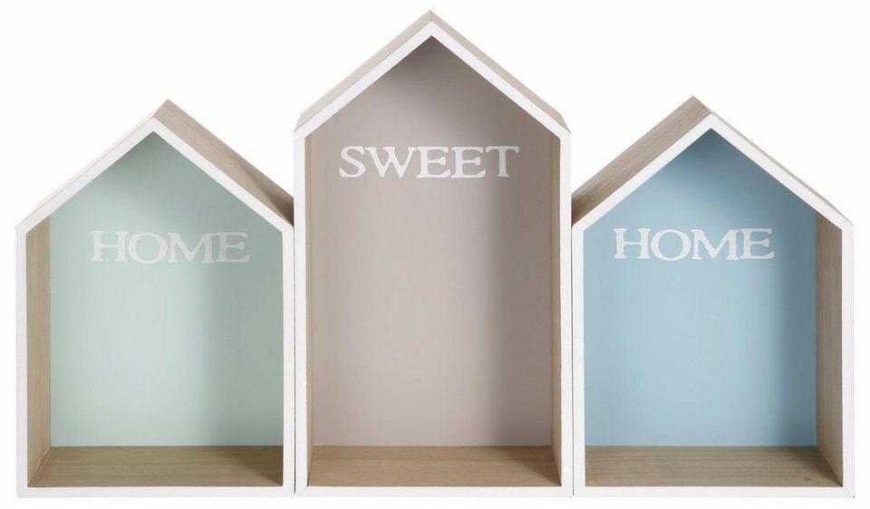 Home affaire Wandkasten »Häuser« in natur/bunt lackiert