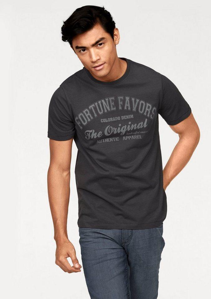 Colorado Denim T-Shirt mit modischem Print in dunkelgrau