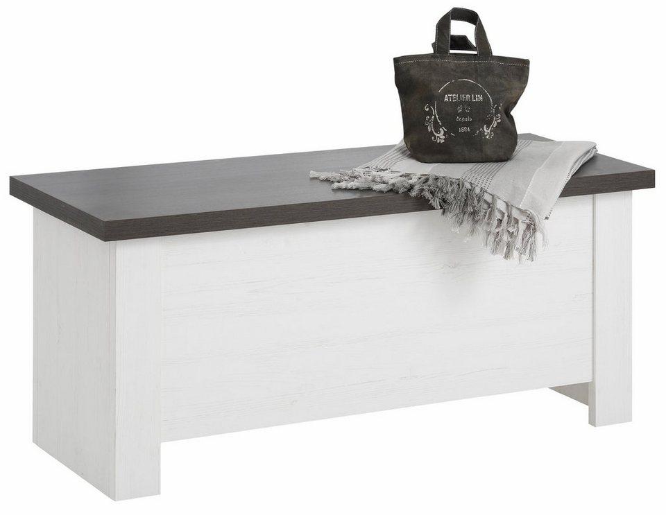Home affaire Truhe »Siena«, Breite 106 cm in weiß/wengefarben